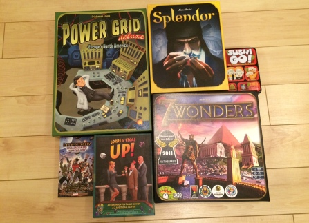 Power Grid Deluxe, Splendor, Sushi Go, Marvel Legendary: Guardians of the Galaxy, Lords of Vegas: Up, 7 Wonders